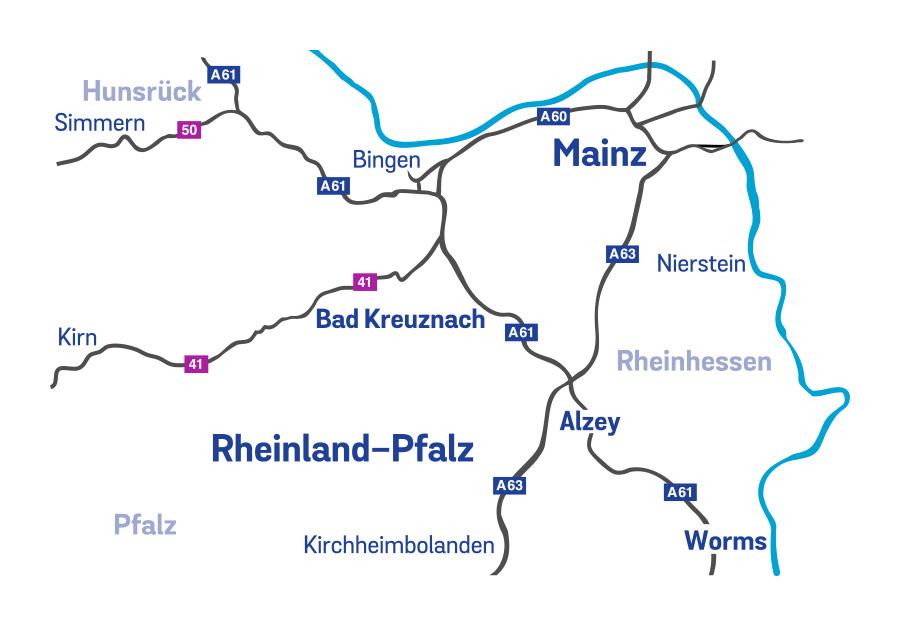 Das Einzugsgebiet des Ambulanten Kinder- und Jugendhospizdienstes erstreckt sich neben der Stadt Mainz auf Rheinhessen und Teile des Vorderhunsrücks.